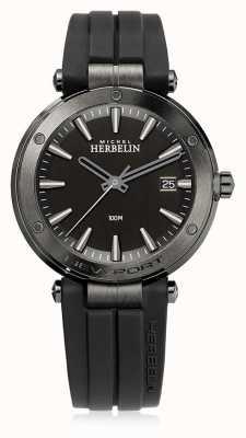 Michel Herbelin   mens nieuwpoort   zwarte rubberen riem   zwarte wijzerplaat   12288/G33CA