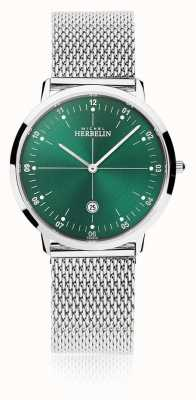Michel Herbelin | heren / dames stad | zilveren mesh armband | groene wijzerplaat | 19515/16B