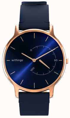 Withings Move tijdloos chic - blauw leer, rosé goud HWA06M-TIMELESS CHIC-MODEL 3-RET-INT