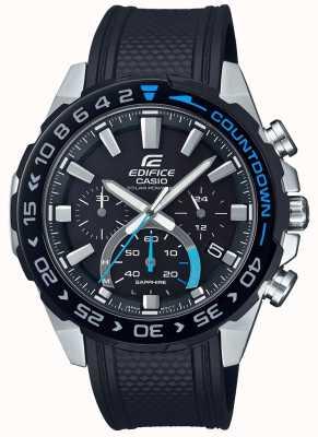 Casio | gebouw zonne | zwarte rubberen band | zwarte chronograaf wijzerplaat EFS-S550PB-1AVUEF