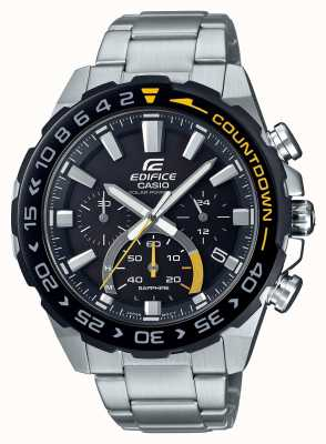Casio | gebouw zonne | roestvrijstalen armband | zwarte wijzerplaat | EFS-S550DB-1AVUEF