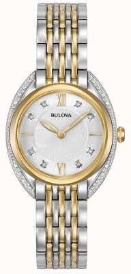 Bulova Klassieke diamant voor dames | two tone roestvrij stalen armband 98R229
