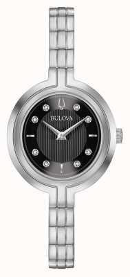 Bulova | rapsodie | vrouwen | stalen armband | zwarte wijzerplaat | 96P215