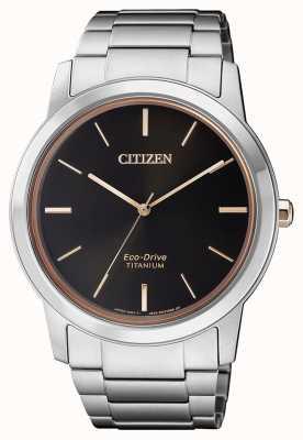 Citizen | mens eco-drive titanium wr50 | zwarte wijzerplaat | zilveren armband AW2024-81E