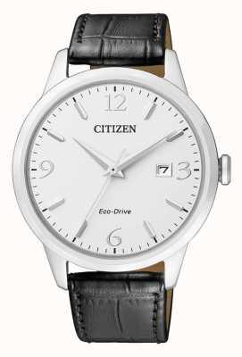 Citizen | mens eco-drive | zwarte leren riem | zilveren wijzerplaat | BM7300-09A
