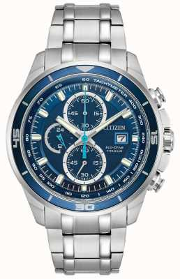 Citizen | mens eco-drive titanium wr100 | blauwe chronograaf wijzerplaat | CA0349-51L