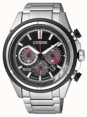 Citizen | mens eco-drive | titanium armband | zwarte wijzerplaat | CA4241-55E