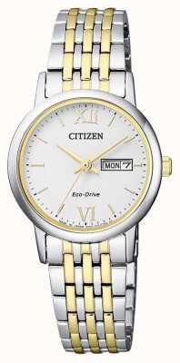 Citizen | eco-drive voor vrouwen tweekleurige armband | zilveren wijzerplaat | EW3254-87A