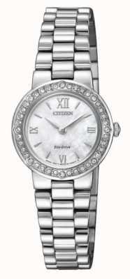 Citizen | eco-drive voor vrouwen kristallen set koffer | zilveren armband | EW9820-89D