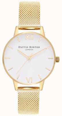 Olivia Burton | dames | witte wijzerplaat | gouden gaas armband | OB16MDW35