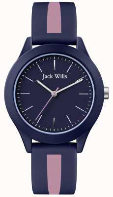 Jack Wills | heren unie | marine wijzerplaat | roze / navy siliconen bandje JW009BLPST