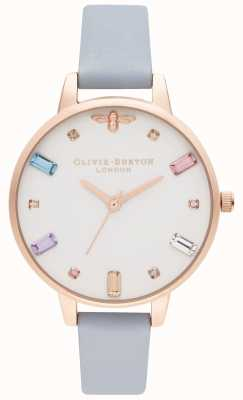 Olivia Burton   dames   regenboog bij   demi krijt blauwe band   OB16RB12