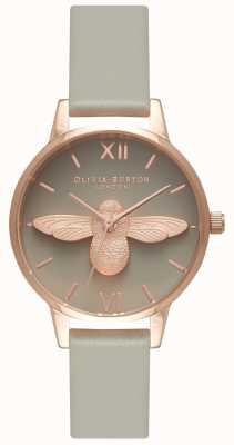 Olivia Burton | dames | 3d bee | grijze lederen band | OB15AM77
