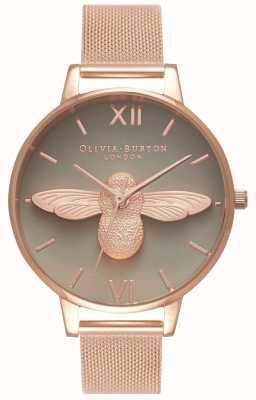 Olivia Burton | dames | 3d bij | roségouden armband van mesh | grijze wijzerplaat | OB16AM117
