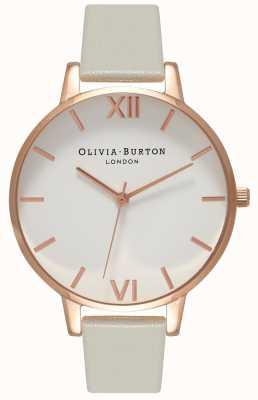 Olivia Burton | dames | witte wijzerplaat | grijze lederen band | OB15BDW02