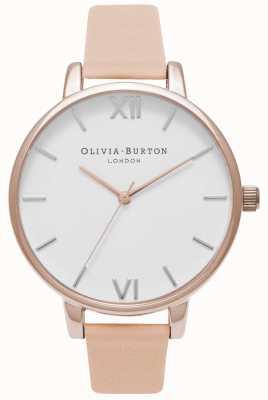 Olivia Burton | vrouwen | grote witte wijzerplaat | leren riem van naakt perzik | OB16BDW21