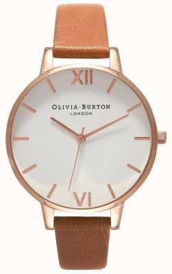 Olivia Burton | vrouwen | grote witte wijzerplaat | leren riem van bruin | OB16BDW19