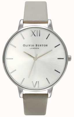 Olivia Burton | vrouwen | zilveren wijzerplaat | grijze leren riem | OB15BD57