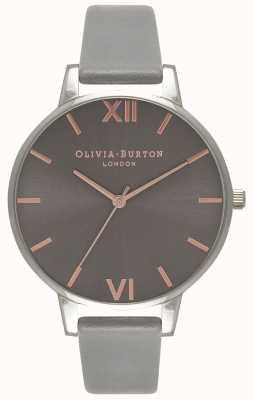 Olivia Burton | vrouwen | grote grijze wijzerplaat | grijze leren riem | OB16BD90