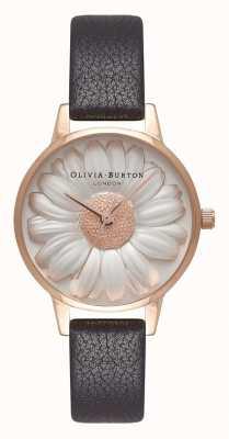 Olivia Burton | vrouwen | 3d margriet wijzerplaat | zwarte leren riem | OB16FS97