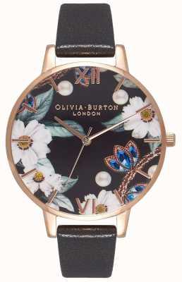 Olivia Burton | vrouwen | met juwelen getooide bloemen | zwarte leren riem | OB16BF04