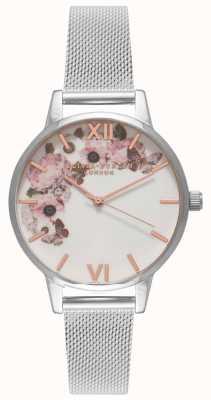 Olivia Burton | vrouwen | handtekening florals bellen | stalen mesh armband | OB16WG30