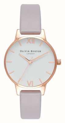 Olivia Burton | vrouwen | grijze lila riem | witte wijzerplaat | OB16MDW32