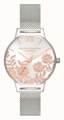 Olivia Burton | dames | kanten detail | roestvrij stalen gaas armband | OB16MV90