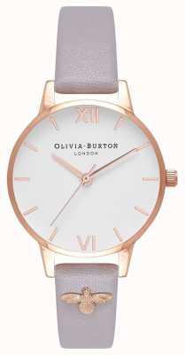 Olivia Burton | vrouwen | 3d bij | verfraaid leder grijs lila bandje OB16ES11