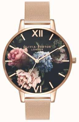 Olivia Burton | vrouwen | donker boeket wijzerplaat | rosegouden armband OB16WG52