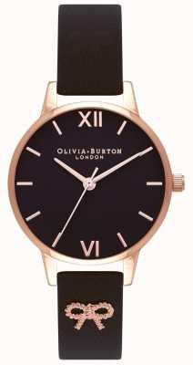 Olivia Burton | dames | zwarte wijzerplaat | vintage strik zwarte band | OB16VB07