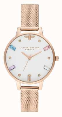 Olivia Burton | vrouwen | regenboog bee | boucle rose gouden mesh armband | OB16RB15