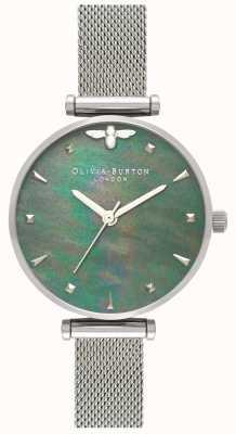 Olivia Burton | dames | bijenkoningin | parel | stalen gaas armband | OB16AM151