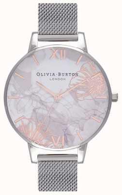 Olivia Burton   vrouwen   abstracte bloemen   stalen mesh armband   OB16VM20