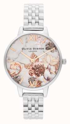Olivia Burton   vrouwen   marmeren bloemen   roestvrijstalen armband   OB16CS31