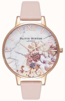 Olivia Burton | vrouwen | marmeren bloemen | leren riem van naakt perzik | OB16CS12