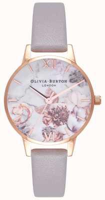 Olivia Burton | vrouwen | marmeren bloemen | grijs lila lederen riem | OB16CS14