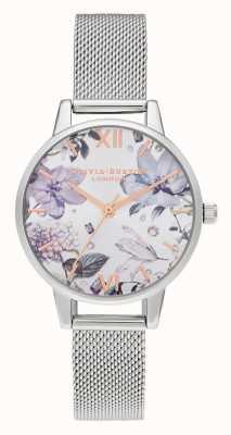 Olivia Burton | vrouwen | met juwelen getooide bloemen | midi zilveren mesh armband | OB16BF26