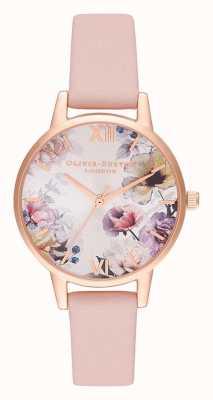 Olivia Burton | vrouwen | zonlicht florals | stoffige roze lederen riem | OB16EG115
