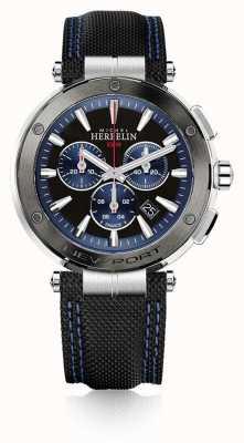 Michel Herbelin | mens | nieuwpoort | blauwe en zwarte chronograaf | rubber | 37688/AG65