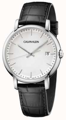 Calvin Klein | opgericht mens | zwarte leren riem | witte wijzerplaat | K9H211C6
