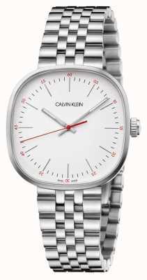 Calvin Klein   heren armband in edelstaal   zilveren vierkante wijzerplaat   K9Q12136