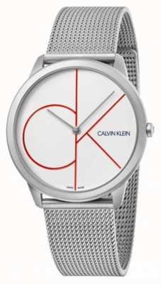 Calvin Klein Minimaal | zilveren mesh armband | witte wijzerplaat | K3M51152