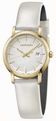 Calvin Klein   Witte lederen damesriem zilveren wijzerplaat   K9H235L6