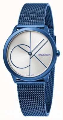 Calvin Klein Minimaal | blauwe mesh armband | zilveren wijzerplaat | K3M52T56