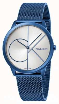 Calvin Klein Minimaal | blauwe mesh armband | zilveren wijzerplaat | K3M51T56