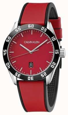Calvin Klein | complete rode rubberen riem voor de mens | rode wijzerplaat | K9R31CUP