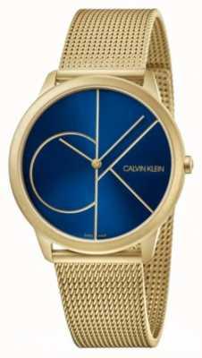Calvin Klein Minimaal | gouden netwerkarmband blauwe wijzerplaat | K3M5155N