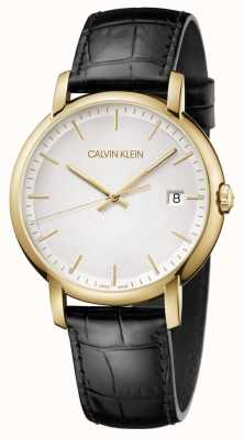 Calvin Klein | mens minimaal | zwarte leren riem | witte wijzerplaat | K9H215C6