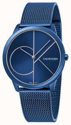Calvin Klein | vrouwen | minimaal | blauwe netriem blauwe wijzerplaat | K3M52T5N